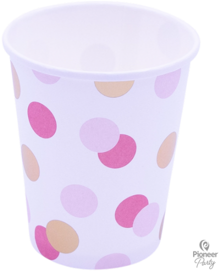 8 Pink & Gold Dots Paper Party Cups 250ml
